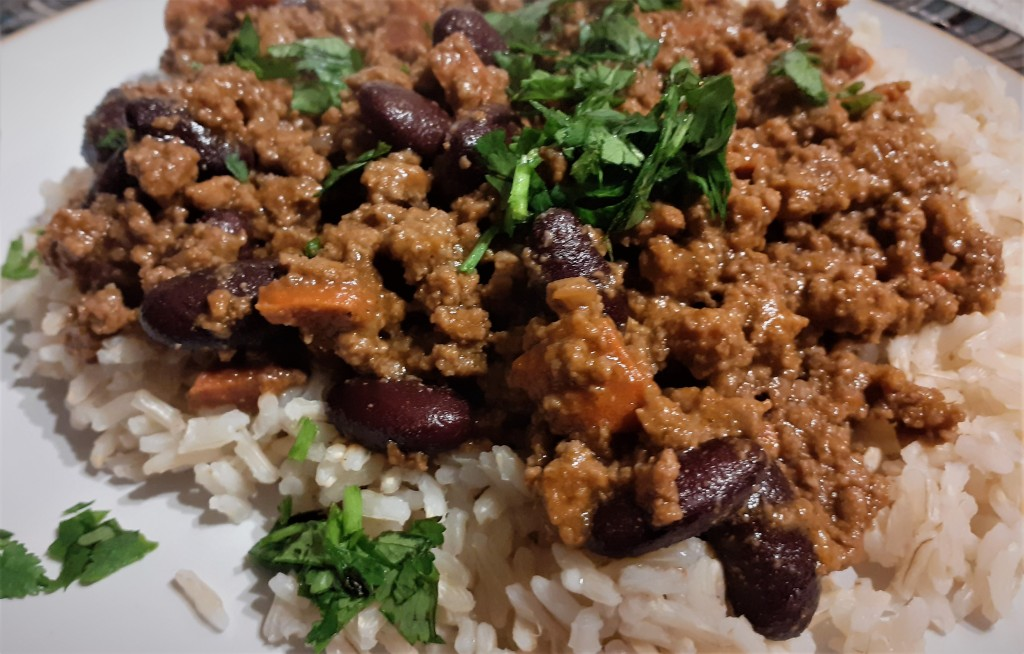 Gruntie's chilli served with brown rice